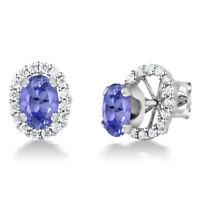 1.50 Ct Oval 7x5mm Blue Tanzanite 925 Sterling Silver Stud Earrings