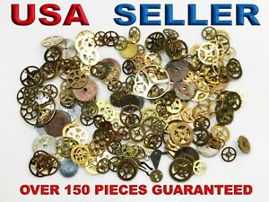 5g Lot Vintage Steampunk Watch Parts Pieces Gears Hands Cogs Wheels small pieces