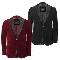 Mens Black Maroon Soft Velvet Satin Lapel Fitted Blazer Designer Dinner Jacket