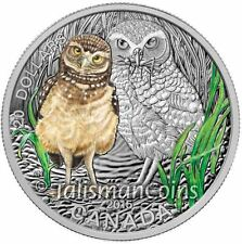 Canada 2015 Baby Animals #3 Burrowing Owl Chick & Mother $20 Pure Silver Proof