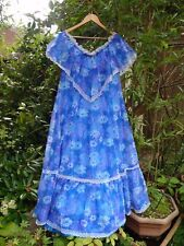 "VINTAGE 1970s BLUE/PURPLE/WHITE FLORAL MAXI 54"" EVENING PARTY DRESS -SIZE 20/22"