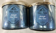 White Barn Candle: MIDNIGHT BLUE CITRUS Bath Body Works 3-wick Jars Lot of 2