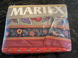 Martex 3 Piece Twin Sheet Set Red and Black Made in USA