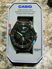Casio Men's Quartz Black Chronograph Dial Dark Brown Leather Watch MTPSW300L-1TN