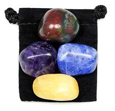 SPIRITUAL AWARENESS Tumbled Crystal Healing Set = 4 Stones + Pouch + Card