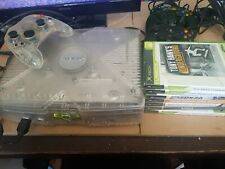 Microsof Xbox Original Crystal Clear Console With 3 Remotes  And 7 Gamed