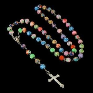 """COLORFUL ROSARY 30"""" Necklace 6"""" Drop 8mm Fimo Clay Prayer Bead Catholic Crucifix"""