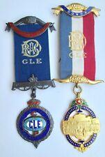 2 Masonic Medals - Royal Antediluvian Order of the Buffaloes (Raob) Named