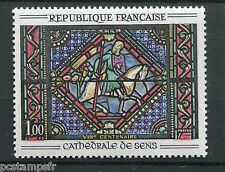 FRANCE - 1964 timbre 1427 , VITRAIL CATHEDRALE SENS, PEINTURE, neuf**, PAINTING
