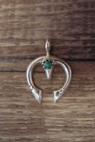 Navajo Indian Sterling Silver Squash Blossom Naja Turquoise Pendant!