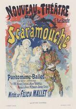 """""""SCARAMOUCHE"""" Planche originale entoilée Litho Jules CHERET 1891 26x35cm"""