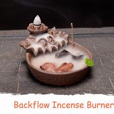 Fish Porcelain Backflow Incense Burner Ceramic Holder For Home Office Decoration