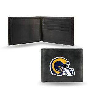 Los Angeles LA Rams Embroidered Retro Team Logo Black Leather Bi-fold Wallet
