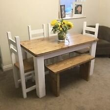 Shabby chic, Rustic, Dining Table, 4 Chairs And Bench Set