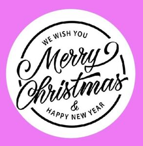 Round Merry Christmas and Happy New Year label stickers 100 x 35mm labels (06B)