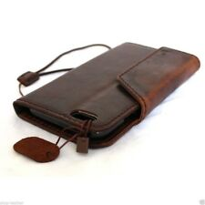 genuine vintage leather case for iphone 6 cover book wallet cards bracket brown