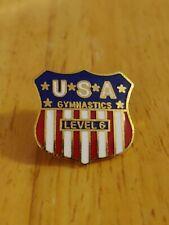 Level 6 Usa Gymnastics Lapel Pin Badge Red White Blue Pinback
