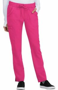 "Betsey Johnson #B700 Elastic/Drawcord Cargo Scrub Pant in ""Flamingo"" Size XL"