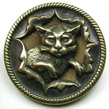 Antique Brass Button Detailed Cat Bursting Thru Paper Design 1 & 1/16""