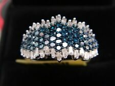 Blue, White Diamond Ring in Platinum Overlay Sterling Silver 1.000 cts sze S & O