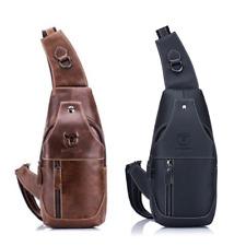 Mens Leather Sling Pack Chest Shoulder Crossbody Bag Backpack Daypack Vintage US