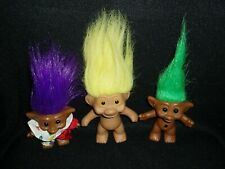 "1981 Russ Troll Doll & Purple Hair Troll 6"" & Free Green Haired Troll"