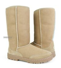 UGG Ultra Tall Revival Sand Suede Fur Boots Womens Size 9 *NIB*