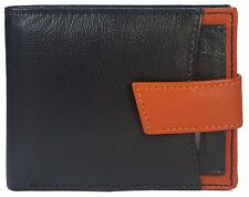 Mens Slim Black Bifold Wallet Solid Goat Leather Credit Card Money Holder
