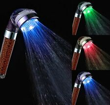 Shower Head Led Water Saving Light Spa Filter Ion Massage Color Sensor H2O WoW