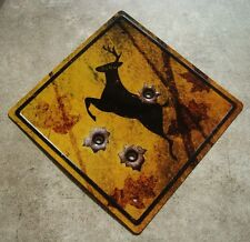 DEER CROSSING BULLET HOLES Rustic Hunter Hunting Cabin Street Road Sign Decor
