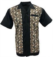Rockabilly Fashions Snakeskin Men's Shirt Retro Vintage Bowling 1950 1960 Brown