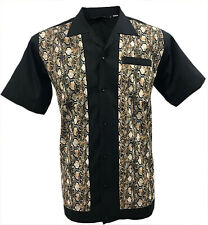 Rockabilly Fashions Snakeskin Men's Shirt Retro Vintage Bowling 1950 1960 Brown