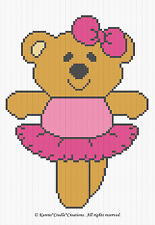Crochet Patterns - BALLERINA BEAR baby afghan pattern