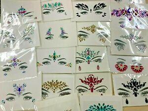 25 Mixed Face Jewels Adhesive Gems Glitter Stickers Tattoo Rhinestone Rave Lot