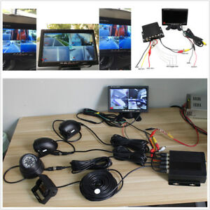 Bus Truck 4CH Video Recorder 7inch LCD Monitor CCD Front Rear Night Look Camera
