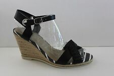 Sperry Top Sider Womens Size 9.5 M Black Leather Woven Wedge Sandals High HEELS