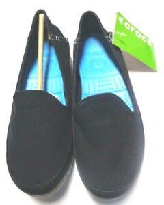NIB Crocs Womens Stretch Sole Skimmer Shoes Black/Light Gray Size 6