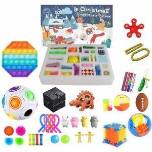 Advent Calendars 2021 Fidget Toy Pop Set 24 DAYS Christmas Countdown Sensory