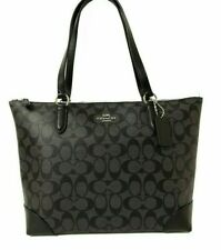 New Authentic Coach F29208 Zip Top Tote Handbag Purse Signature Black Silver