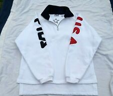Vintage FILA USA Pullover Fleece Spell Out Big Lettering size Medium 90s