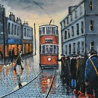 Superb James Downie Original Oil Painting - Queuing For The Tram (Northern Art)