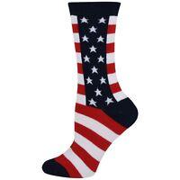 Women's American Flag Socks K Bell Crew Stars and Stripes Patriotic
