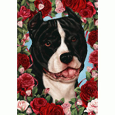 Roses House Flag - Black and White American Pit Bull Terrier 19405