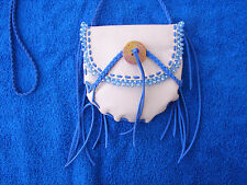 LEATHER MEDICINE BAG, LEATHER NECKLACE POUCH, BEADED AMULET POUCH, CROSS BODY