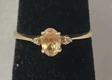 Natural Citrine & Diamond Accent 10K Yellow Gold Ring Size 6.0