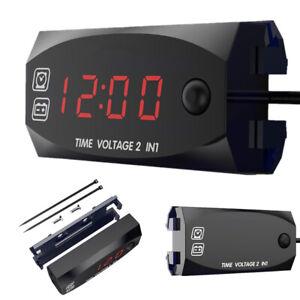 Universal Digital Car Boat LED Voltmeter Voltage Gauge Time Clock Meter Switch