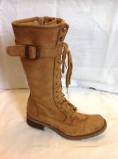 Timberland Beige Mid Calf Leather Boots Size 6W (Uk Size 4)