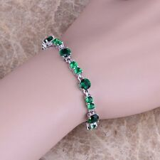 Classy Green Emerald Silver Link Chain Bracelet For Women S0250