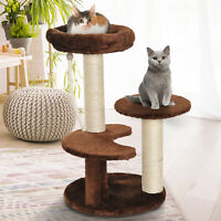 PawHut Cat Tree Scratcher Kitty Activity Center 2 Perch Sisal Rope Brown