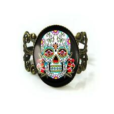 Day of the Dead Dia De Los Muertos Sugar Skull Antique Bronze Filigree Ring